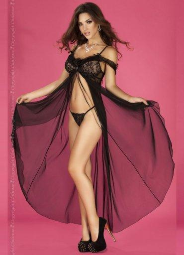 Siyah Gecelik Uzun Şık Tasarım Fantazi Giyim - 0545 356 96 07