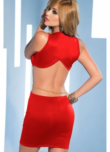 Seksi Dekolteli Fantazi Elbise Kırmızı - 90 TL