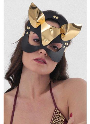Gold Deri Kedi Kız Fantazi Maske - 0545 356 96 07