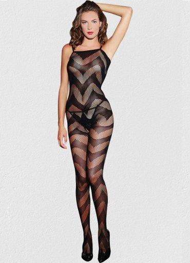 Dalga Desenli Kadın Vücut Çorabı - 0545 356 96 07