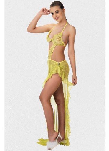 Sarı Transparan Sexy Gecelik - 0545 356 96 07