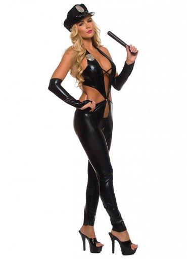 Fantazi Polis Kostüm Siyah Deri - 220 TL