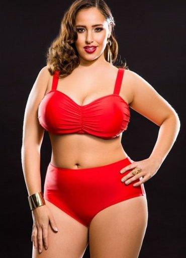 Kırmızı Yüksek Bel Büyük Beden Bikini