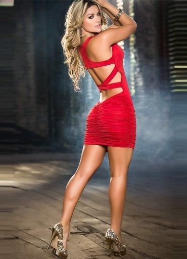 Arkası Çapraz Kırmızı Şık Elbise