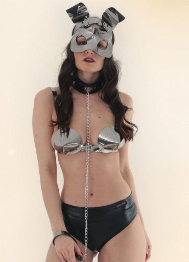 Deri Rabbit Maskeli Fantazi İç Giyim Set - 175 TL