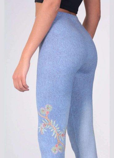 Buz Mavi Kadın Tayt Çiçek Baskılı - 0545 356 96 07