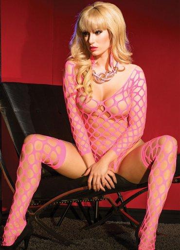 Pembe Seksi Vücut Çorabı - 0545 356 96 07