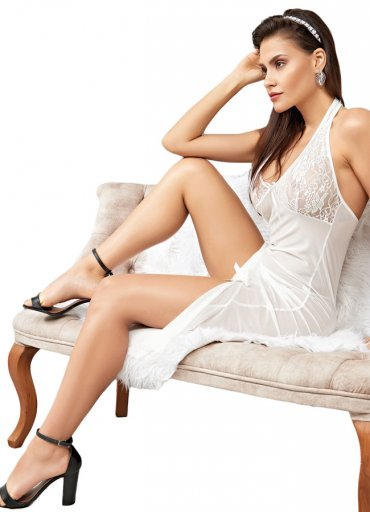 Beyaz Dantelli Uzun Transparan Gecelik - 0545 356 96 07