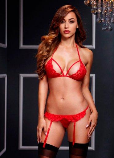 Kırmızı Dantelli Jartiyer Takım