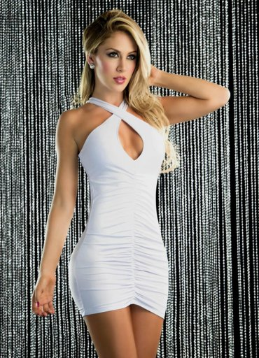 Sırt Dekolteli Mini Elbise Beyaz - 115 TL