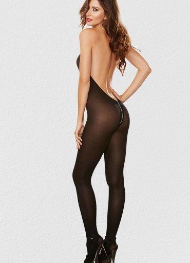 Fermuarlı Siyah Vücut Çorabı - 0545 356 96 07