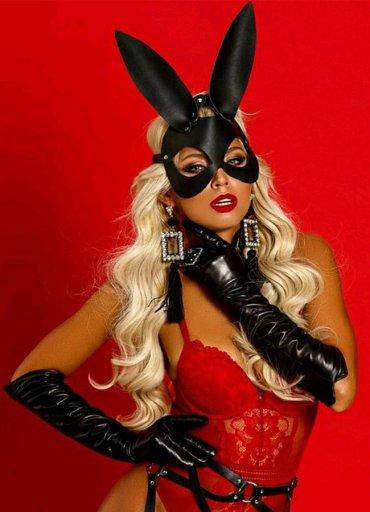Maskeli Deri Tavşan Kız Jartiyer Takım