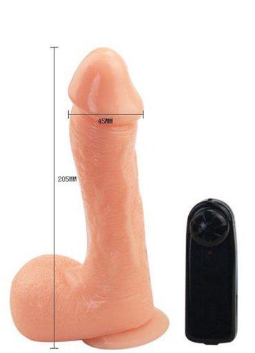 Ten Renginde Testisli Titreşimli Ve Vantuzlu Realistik Penis