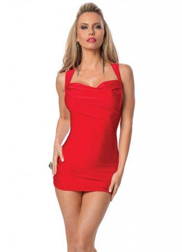 Kırmızı Sırt Dekolteli Süper Mini Elbise - 0545 356 96 07