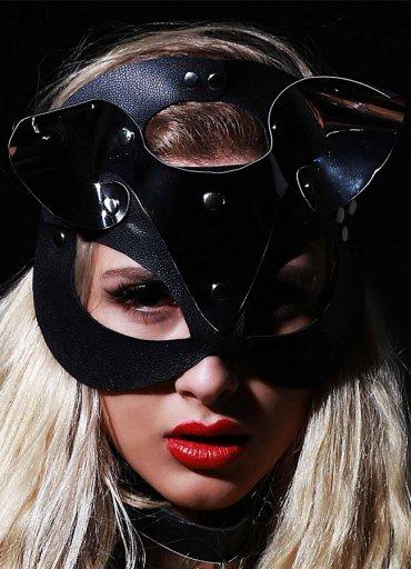 Nokta Shop Siyah Deri Kedi Kız Fantazi Maske - 55 TL