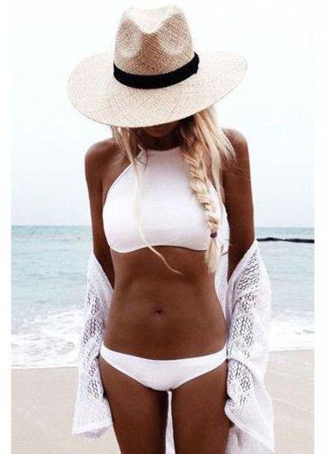 Angelsin Şık Beyaz Tankini Bikini Alt - 0545 356 96 07