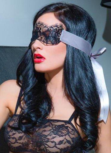 Seksi Dantelli Maske Kelepçe Sütyen Ve Külot Takım - 0545 356 96 07