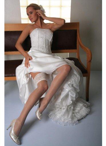 Dantelli Slikonsuz Jartiyer Çorabı Beyaz - 45 TL