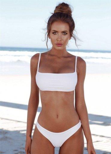 Angelsin Beyaz Şık Bikini Takım - 0545 356 96 07