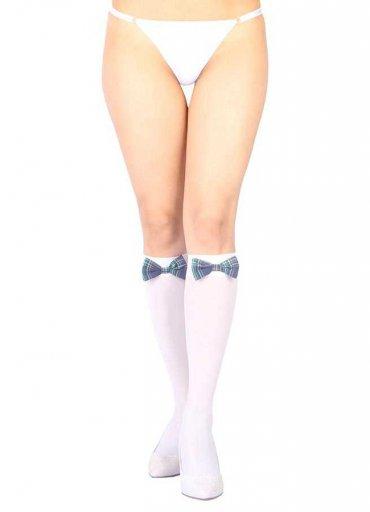 Diz Altı Mavi Ekose Kurdeleli Fantazi Çorap Ve G String Seti - 0545 356 96 07