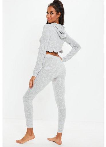 Gri Kapşonlu Eşofman Pijama Takım