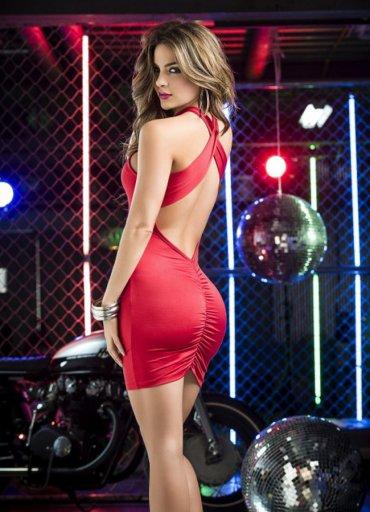 Sırt Dekolteli Mini Elbise Kırmızı - 115 TL
