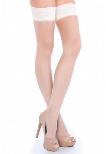 Beyaz Dantelli Jartiyer Çorap