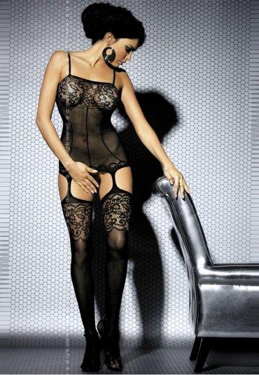Siyah Dantelli Özel Bölgesi Açık Seksi Vücut Çorabı
