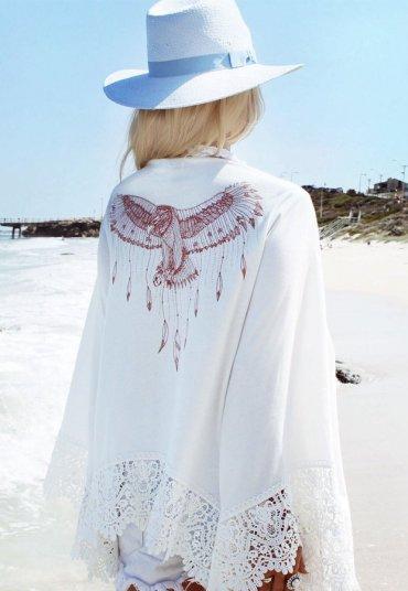 Özel Tasarım Kolları Dantel Plaj Elbisesi Pareo