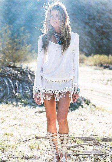 Beyaz Özel Tasarım Şık Plaj Elbisesi