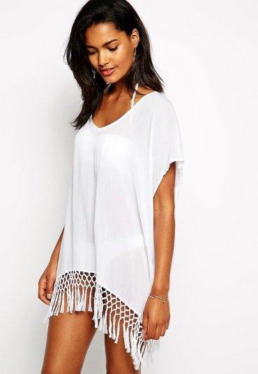 Şık Tasarım Beyaz Plaj Elbisesi