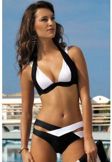 Siyah Beyaz Özel Tasarım Bikini Üstü