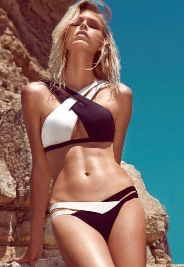 Merry See Özel Tasarım Siyah Beyaz Bikini