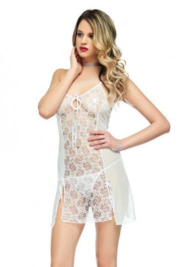 Beyaz Transparan Gecelik Fantazi Giyim