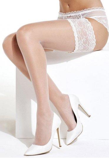 Beyaz Düz Silikonlu Dantelli Jartiyer Çorap