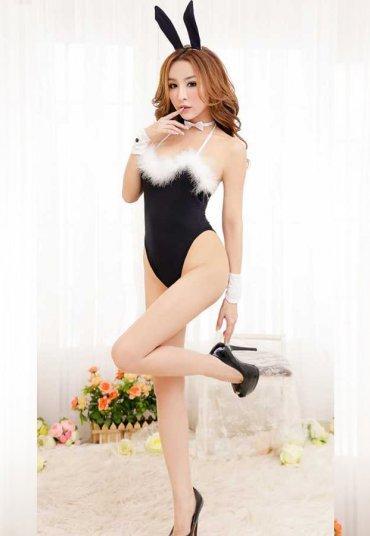 Seksi Siyah Tavşan Kostümü