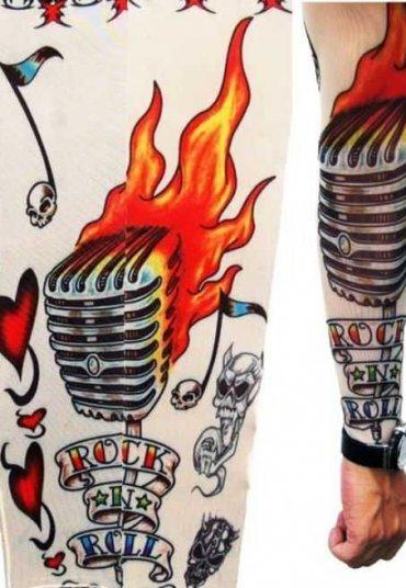 Mikrofon Motifli Giyilebilir Dövme