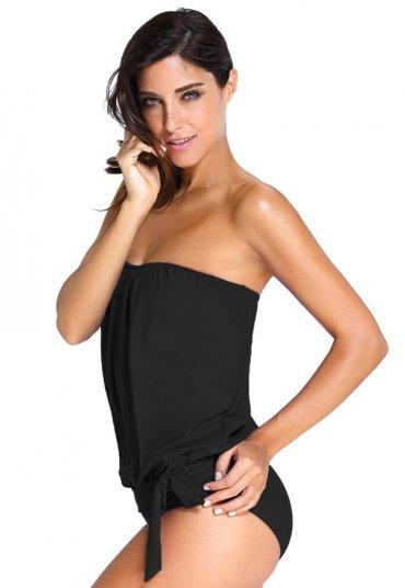 Siyah Uzun Tankini Bikini Takım