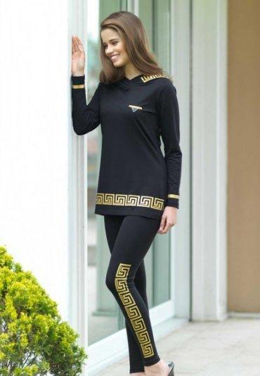 Kapşonlu Bayan Pijama Takımı Siyah