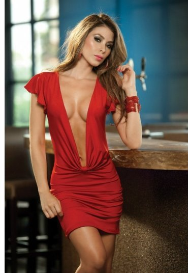Kırmızı Gögüs Dekolteli Seksi Elbise