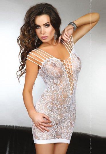 Seksi Beyaz Dantelli Askılı Fantazi Elbise