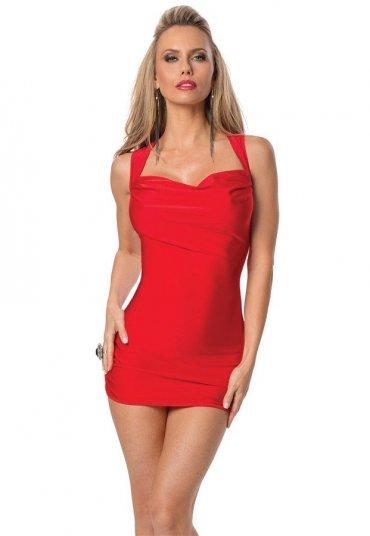 Kırmızı Sırt Dekolteli Süper Mini Elbise