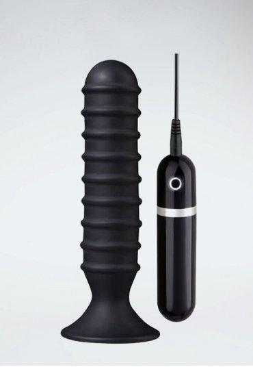 Titreşimli Siyah Anal Tıkaç 15 Cm