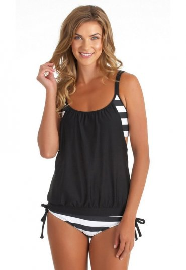 Siyah Beyaz Cizgili Tankini Bikini Takım