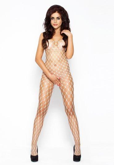 Özel Bölgesi Açık Fileli Beyaz Vücut Çorabı