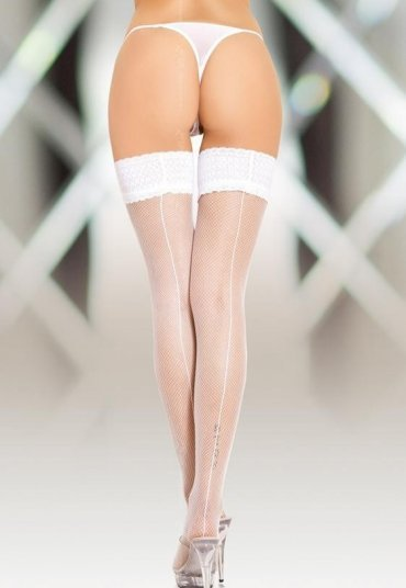 Beyaz Seksi Jartiyer Çorabı