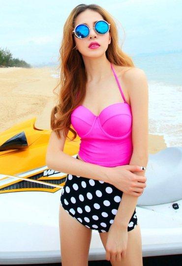 Yüksek Bel Puantiyeli Şık Bikini Alt