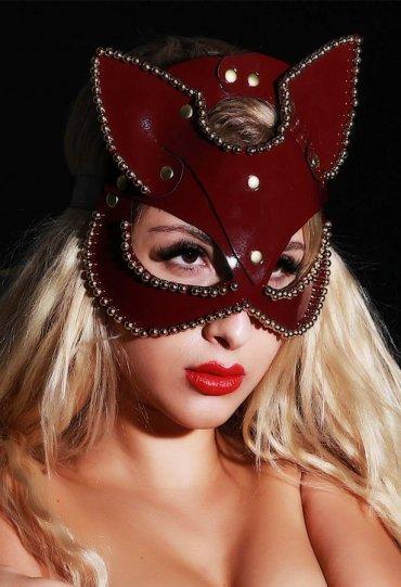 Taşlı Deri Pusy Cat Maske