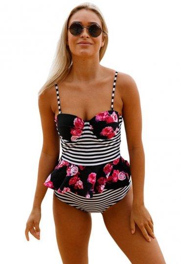 Yüksek Bel Etek Gürünümlü Destekli Bikini Takım