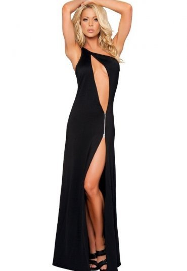 Fantazi Siyah Fermuarlı Gece Elbisesi